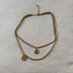 Gold Double-Layered Coin Necklace